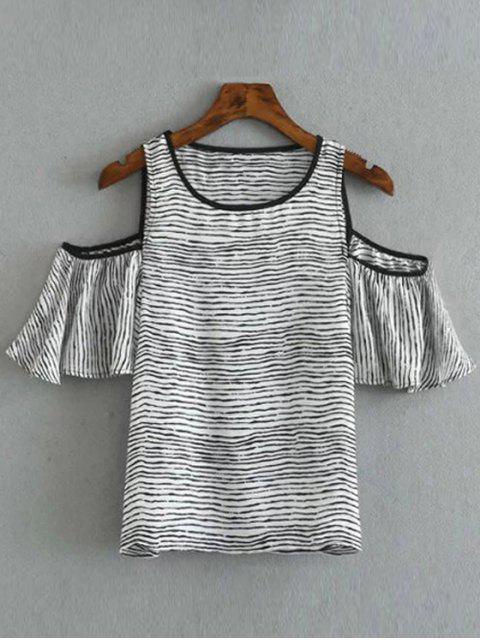 Col rond rayé T-shirt de l'épaule froide - Blanc et Noir S Mobile