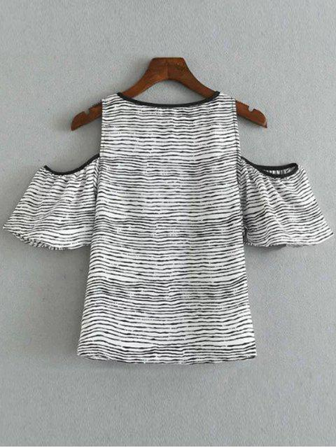 lady Striped Round Collar Cold Shoulder T-Shirt - WHITE AND BLACK S Mobile