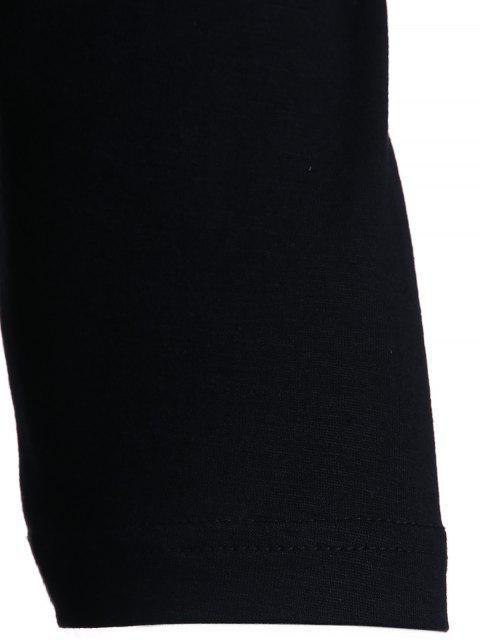 Cold Shoulder col rond manches 3/4 T-shirt couleur unie - Noir S Mobile