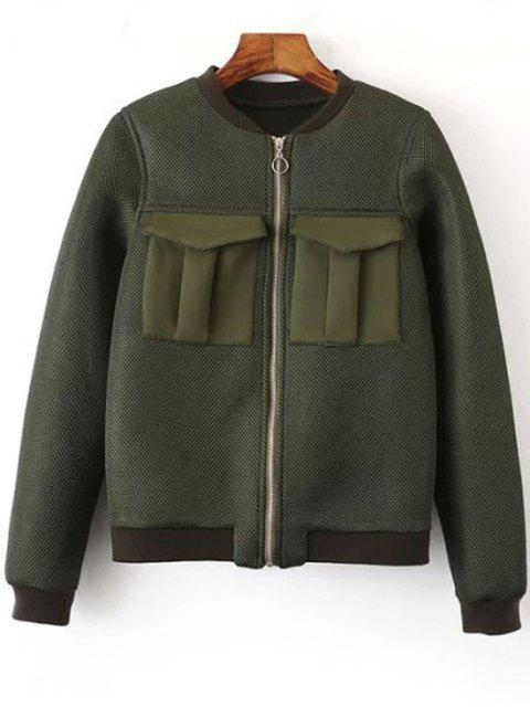 best Big Pocket Mesh Design Pilot Jacket - GREEN L Mobile