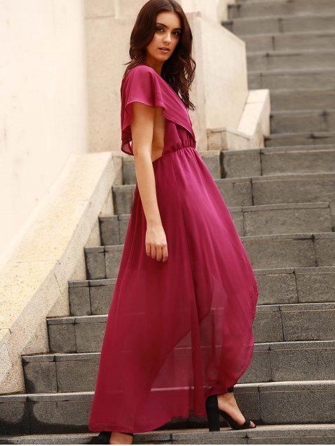 trendy Backless Plunging Neck Flouncing High Slit Dress - PURPLE S Mobile