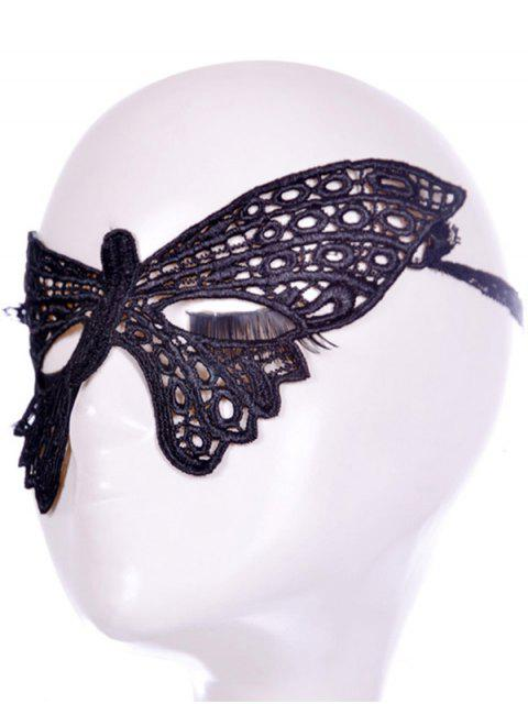 buy Faux Lace Butterfly Headband Party Mask - BLACK  Mobile