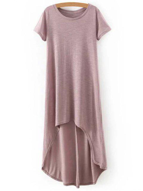 ladies High-Low Round Neck Short Sleeve Dress - COMPLEXION M Mobile