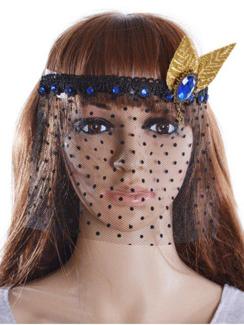 women Faux Sapphire Leaf Hair Accessory Party Mask -   Mobile