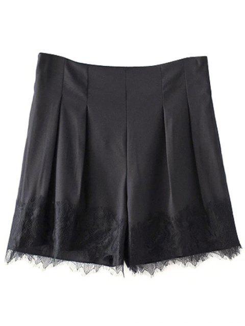 new Black Lace Splice High Waist Shorts - BLACK S Mobile