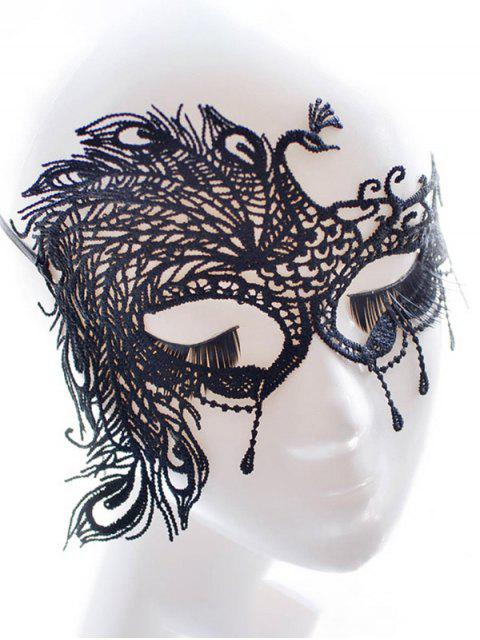 ladies Faux Lace Peacock Feather Party Mask -   Mobile