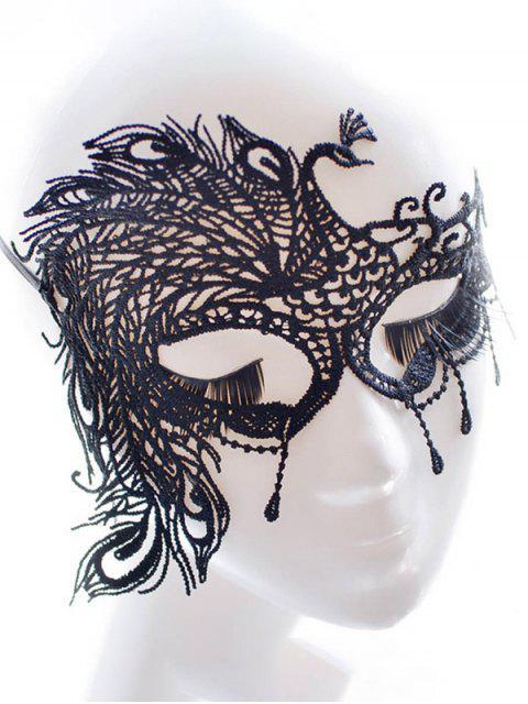Máscara de imitación de la pluma del partido del pavo real del cordón - Negro  Mobile