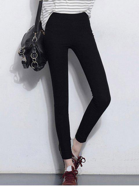 hot Solid Color Stretchy Leggings - BLACK M Mobile