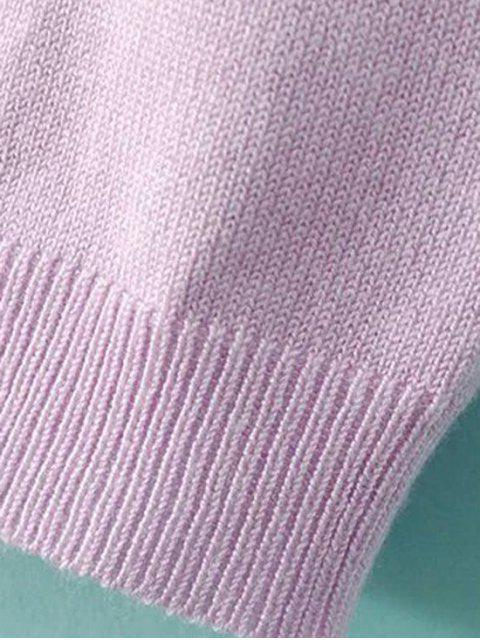 best Solid Color Stand Neck Short Sleeve Knitwear - LIGHT PURPLE M Mobile