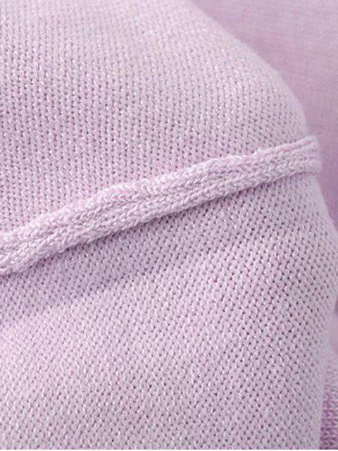 lady Solid Color Stand Neck Short Sleeve Knitwear - LIGHT PURPLE S Mobile