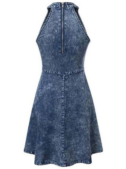 outfit Snowflakes Round Neck Sleeveless Denim Dress - BLUE L Mobile
