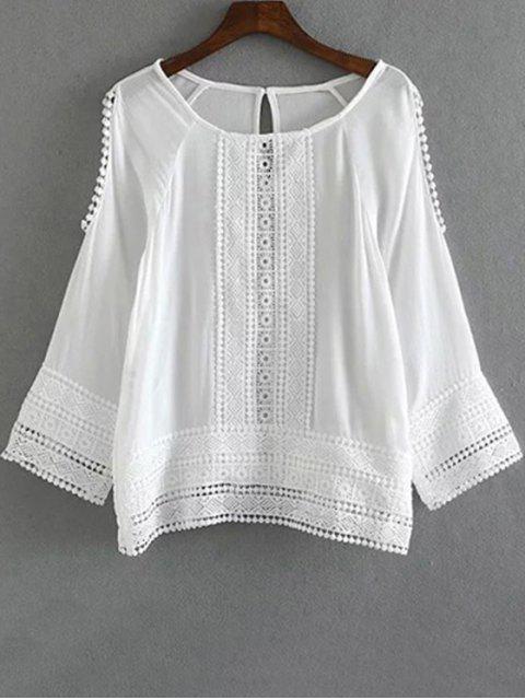 Cutout Lace Chiffon Top - Blanc S Mobile