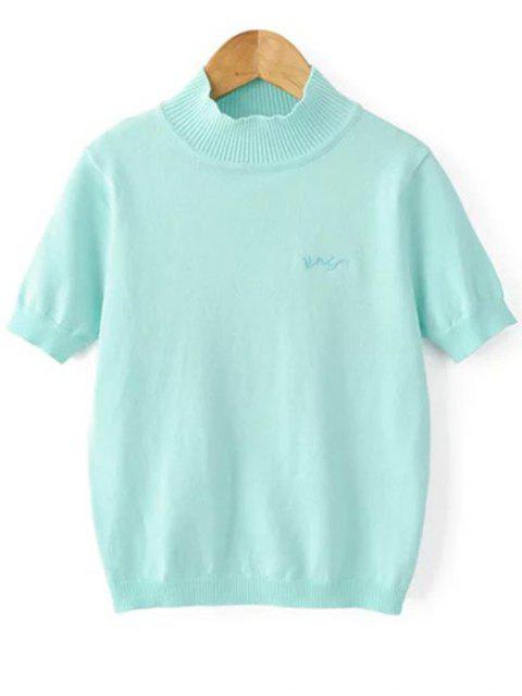 ladies Solid Color Stand Neck Short Sleeve Knitwear - LIGHT BLUE M Mobile