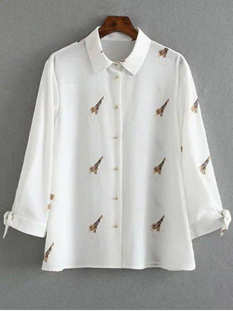 lady Tie-Up Giraffi Print White Shirt - WHITE S Mobile