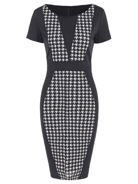 shops Houndstooth Work Fitted Pencil Dress with Sleeves - BLACK S Mobile