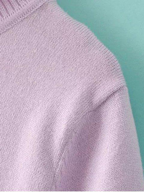 women Solid Color Stand Neck Short Sleeve Knitwear - PINK M Mobile