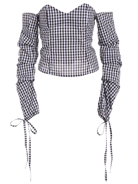 new Off The Shoulder Checked Blouse - BLACK S Mobile