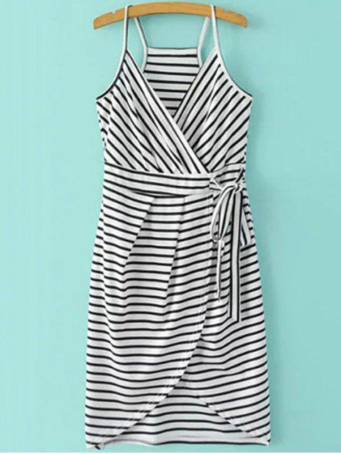 online Striped Wrap Cami Tulip Dress - WHITE AND BLACK L Mobile