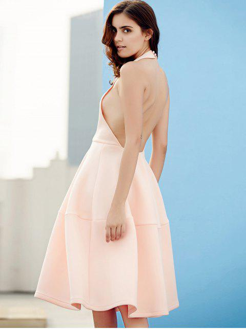 womens Open Back Plunging Neck Sleeveless Dress - PINK XL Mobile