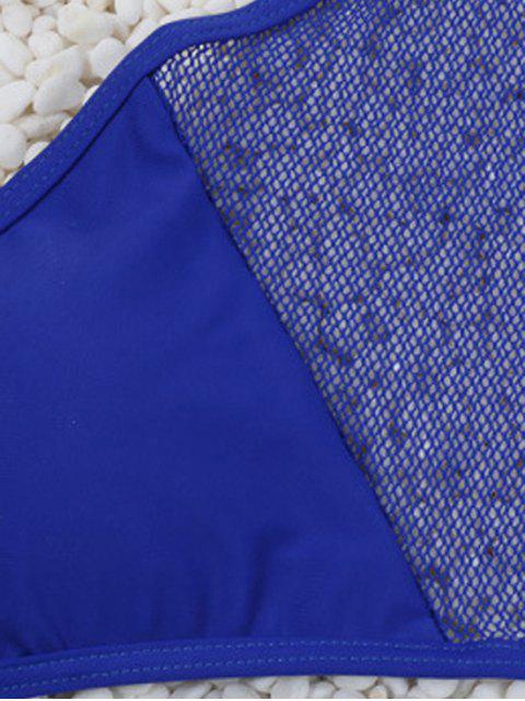 buy Lace Spliced Halter Bikini Set - BLACK M Mobile