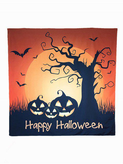 Motif Halloween Carnaval Sunset Pumpkin Bat Big Square Scarf - Brun  Mobile