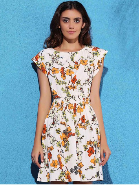outfit Floral Print Elastic Waist Chiffon Dress - OFF-WHITE L Mobile