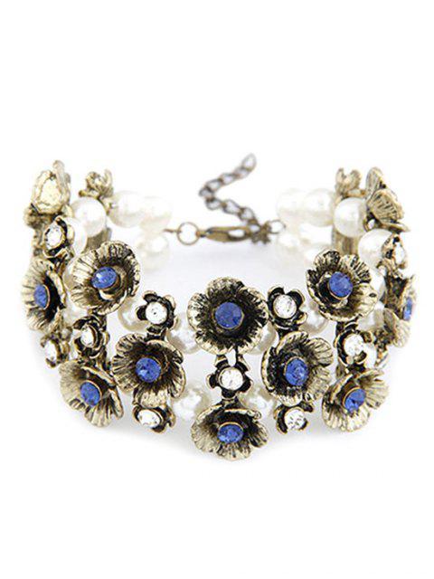 outfit Retro Rhinestone Flower Bracelet - BLUE  Mobile