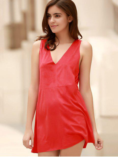 womens Red Faux Suede Plunging Neck Sleeveless Dress - RED M Mobile