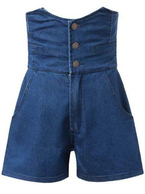 chic Solid Color High Waist Denim Shorts - DEEP BLUE M Mobile
