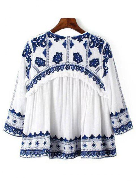 online Blue and White Porcelain Blouse - BLUE AND WHITE L Mobile