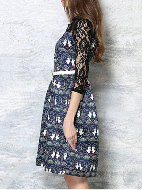 women's Lace Spliced Printed Round Neck 3/4 Sleeve Dress - BLACK XL Mobile