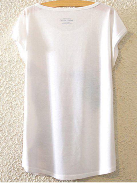 ladies Figure Print Round Neck Bat-Wing Sleeve T-Shirt - WHITE ONE SIZE(FIT SIZE XS TO M) Mobile