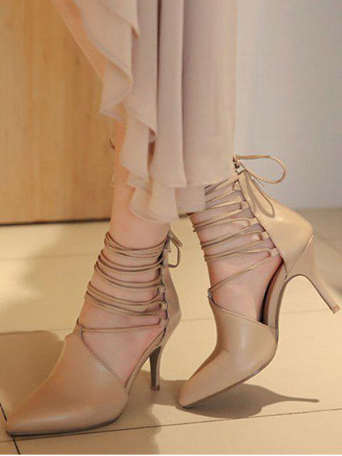best Stiletto Heel Lace-Up Pointed Toe Pumps - LIGHT KHAKI 37 Mobile