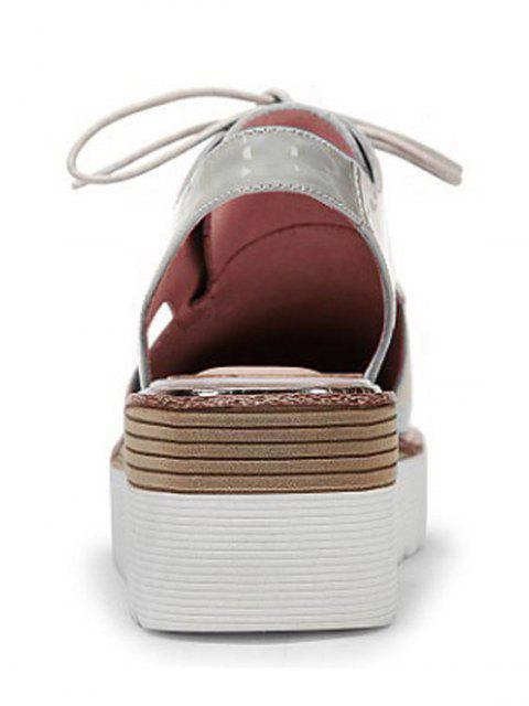new Slingback Square Toe Lace-Up Platform Shoes - GRAY 36 Mobile