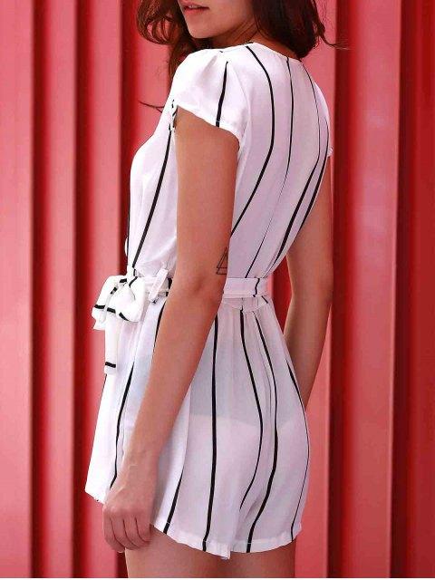women's Deep V Neck Vertical Stripes Romper - WHITE XL Mobile