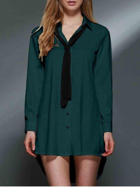 women's Bowknot Embellished Tunic Shirt Dress - GREEN 2XL Mobile
