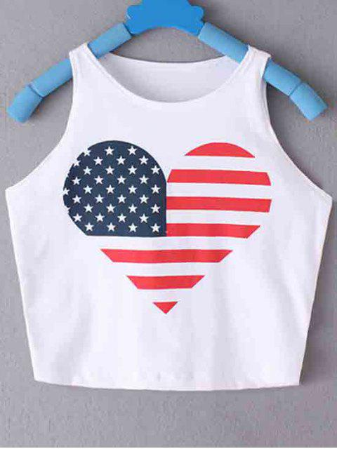 women's American Flag Printed Round Collar Crop Top - WHITE S Mobile