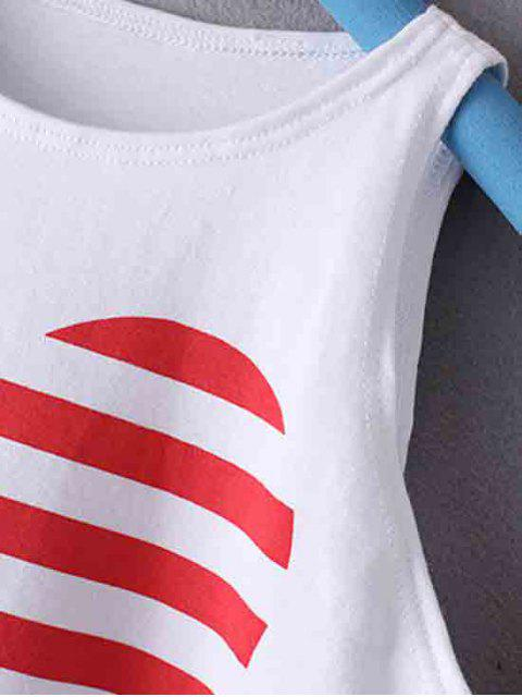 lady American Flag Printed Round Collar Crop Top - WHITE L Mobile