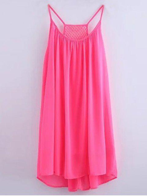 affordable Chiffon Mesh Design Flippy Dress - PINK S Mobile