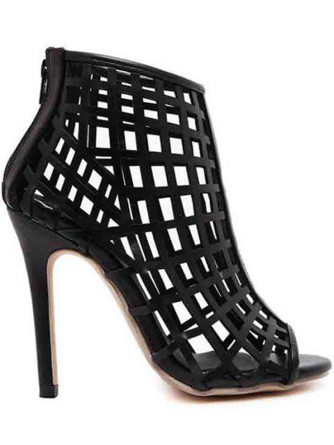womens Hollow Out Stiletto Heel Peep Toe Shoes - BLACK 40 Mobile