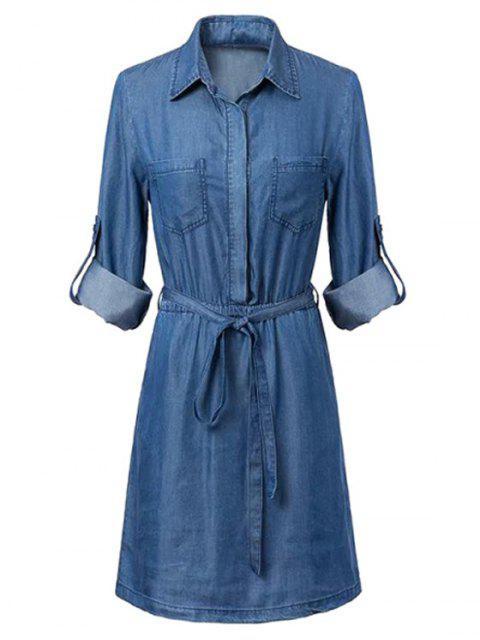 online Pockets Shirt Collar Long Sleeve Chambray Dress - BLUE S Mobile