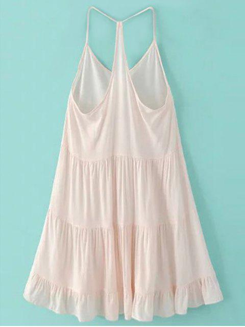 fashion Spaghetti Strap Tiered Dress - PINK XL Mobile