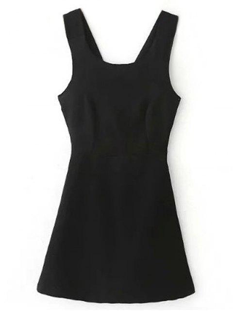 La cruz trasera Auto Tie vestido sin mangas - Negro S Mobile