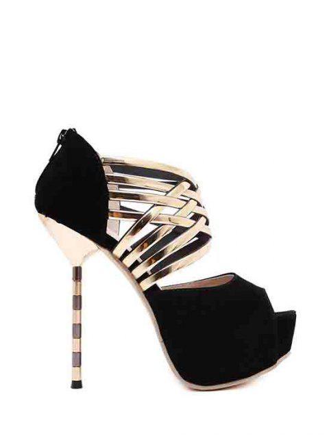 women's Platform Flock Stiletto Heel Peep Toe Shoes - BLACK 38 Mobile