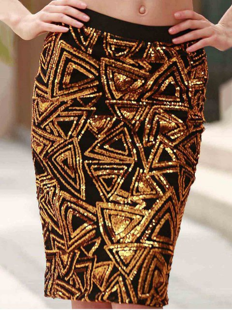 unique High-Waisted Sequined Pencil Skirt - GOLDEN 2XL Mobile