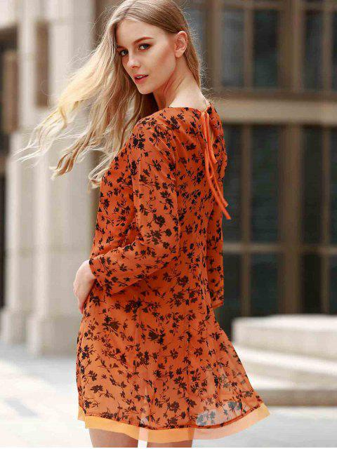 lady 3/4 Sleeve Floral Print Flared Dress - YELLOW M Mobile