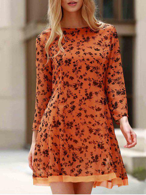 best 3/4 Sleeve Floral Print Flared Dress - YELLOW L Mobile