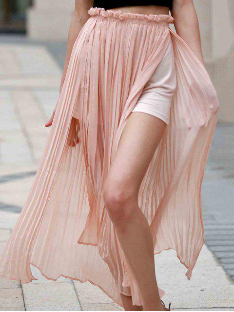 outfits Pleated Chiffon Long Skirt - PINK M Mobile