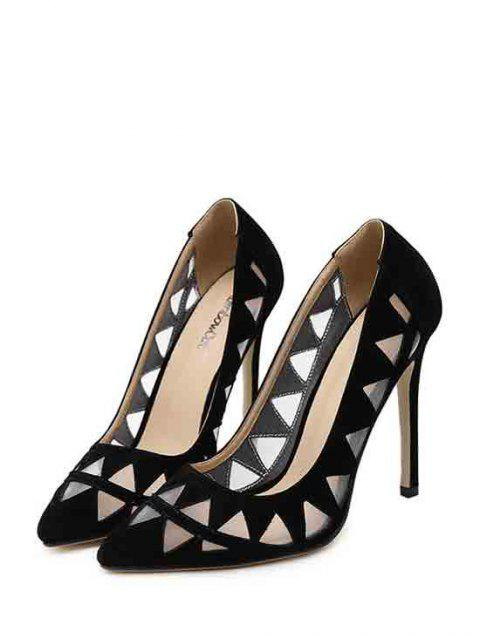 outfit Hollow Out Geometric Pointed Toe Pumps -   Mobile