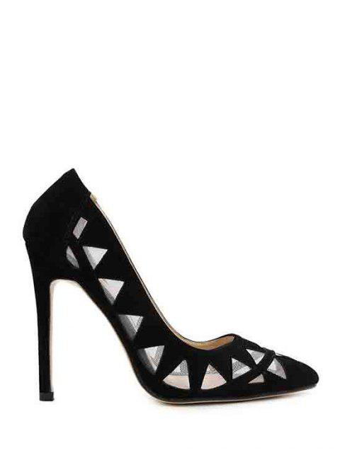 outfits Hollow Out Geometric Pointed Toe Pumps - BLACK 39 Mobile